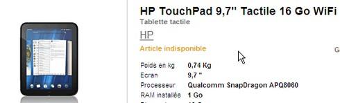 Dispo du HP Touchpad à la Fnac