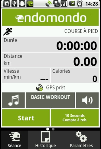Endomondo pendant la course