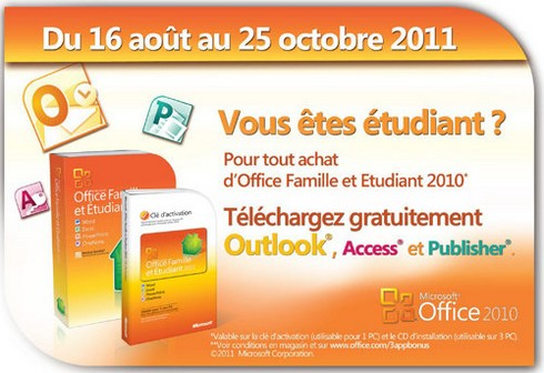 Outlook 2010 et Access 2010 gratuits